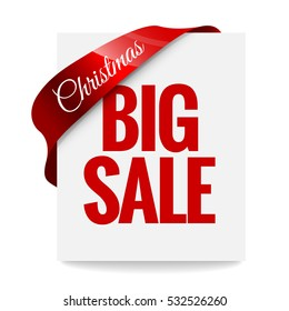 Big Christmas sale. Label, price tag with a red ribbon on white background. Vector illustration.