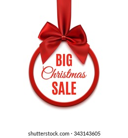 Big Christmas sale, round banner with red ribbon and bow, isolated on white background. Vector illustration.