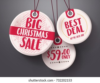 Big christmas sale tags vector set with white and red tag price color hanging for christmas holiday shopping promotion. Vector illustration.