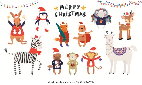 Big Christmas set with cute animals in Santa Claus hats, tree, gifts, ornaments, text. Isolated on white. Hand drawn vector illustration. Scandinavian style flat design. Concept for children print.
