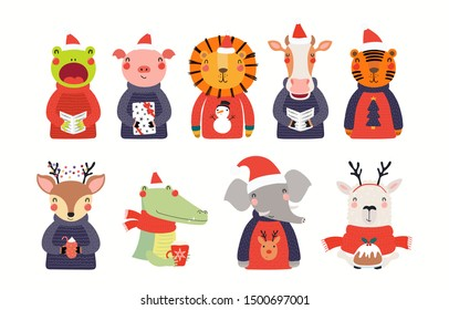 Big Christmas set with cute animals in Santa Claus hats, ugly sweaters. Isolated objects on white background. Hand drawn vector illustration. Scandinavian style flat design. Concept for children print