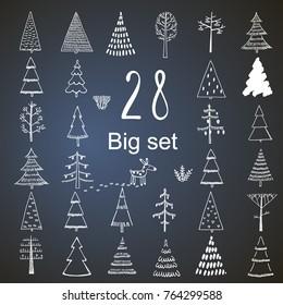 Big Christmas Tree Set Hand Drawn Illustration