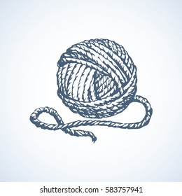 Big circle twisted ravel twine coil isolated on white backdrop. Outline black ink hand drawn picture sketchy in art scribble retro style pen on paper. Closeup view