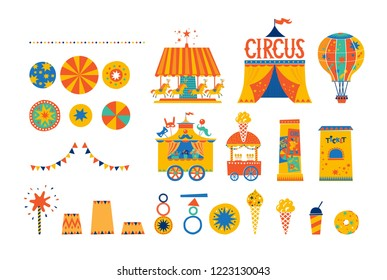 Big circus set in cartoon style.  Balloon, circus tent, mask shop, pedestal with posters, ticket office, garlands, ice cream truck, carousel. Circus carnival, fair, amusement Park, festival, market