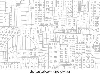Big city background texture skyscraper sketch buildings. Gray line skeleton strokes Modern architecture landscape. Hand drawn vector stock illustration.