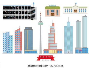 Big City Buildings Vector Set. Collection of 10 flat design buildings typical of megacities and the urban area.