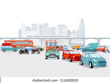 Big city with cars, traffic illustration