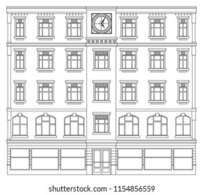 big city clock building street facade house view landscape, black outline contour on white . cityscape front street panorama. ground floor shop with door and classic windows