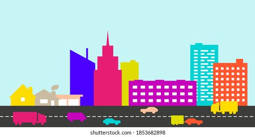Big city and intensive road in front of it. Car traffic. Flat style vector illustration.
