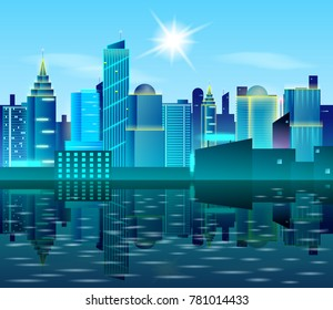 Big city landscape with reflection on water. Sunny day in metropolis. Real Estate design concept. Cityscape vector illustration. Skyscrapers and blue sky.