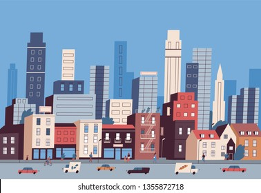 Big city life. Panoramic view of modern downtown with urban buildings, skyscrapers, transport on road and pedestrians walking along sidewalk. Colorful vector illustration in flat cartoon style.