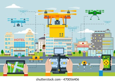Big city Modern technologies concept with people launching drones by different applications on a device vector illustration