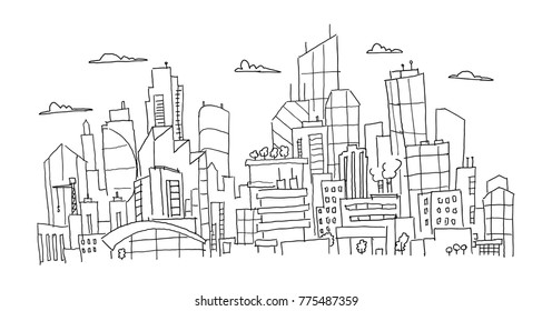 Big city panorama future sketch. Hand drawn vector stock line illustration. Building architecture landscape.