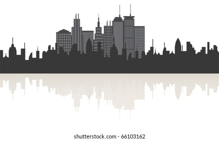 Big city skyline with building reflections