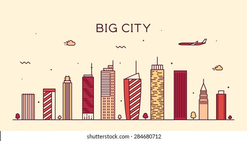 Big city skyline, detailed silhouette. Trendy vector illustration, linear style.