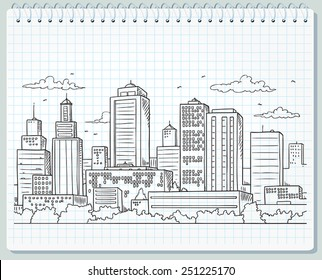 Big City Skyline Drawing