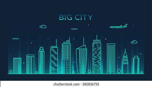 Big city skyline at night, detailed silhouette. Trendy vector illustration, linear style.