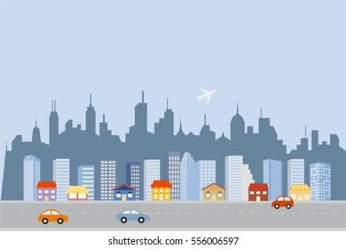Big city skyline with skyscrapers