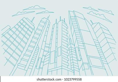 Big city skyscraper sketch buildings. Blue line skeleton strokes Modern architecture landscape. Hand drawn vector stock illustration.