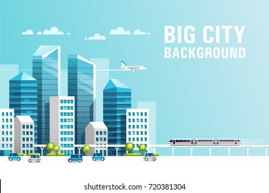 Big city. Urban landscape with buildings, skyscrapers and municipal transport. Real estate and construction industry concept. Vector illustration.