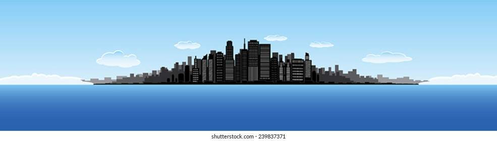 Big city water horizon illustration