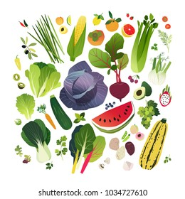 Big clip art collection with fruits and vegetables