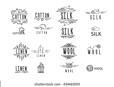big cloth (materials) logo set - linnen, cotton, wool, silk; geometrical, hand-drawn, vingete; vector