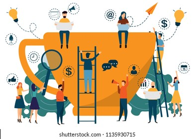 Big coffee cup illustration infographics. business people construct coffee cup and working around a big cup. working success, partnership. business concept character vector illustration.