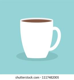 Big coffee cup mug Blue background Flat modern simply design