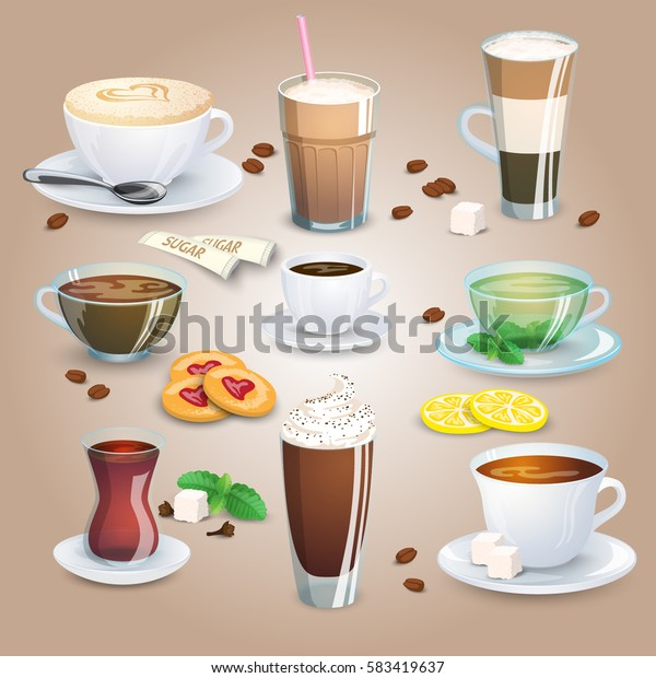 Big coffee and tea collection plus elements for tea and coffee. Vector illustration