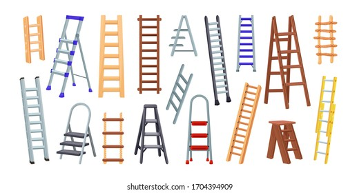 Big colection of wooden and metal Ladders. Vector illustration isolated on white background. Icons for web and design