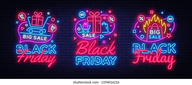Big collectin neon signs for Black Friday Sale. Neon Banner Vector. Black Friday neon sign, design template, modern trend design, night light signboard, night bright advertising. Vector illustration