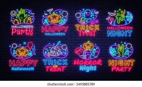 Big collectin neon signs for Halloween. Halloween Party Neon Banner Vector. Horro Night design template for greeting cards and posters, modern trend design, night light signboard. Vector