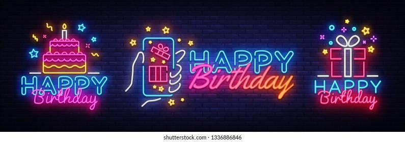 Big collectin neon signs for Happy Birthday. Neon Banner Vector. Happy Birthday neon sign, design template, modern trend design, night light signboard, night bright advertising. Vector illustration