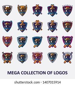 Big collection of 20 motocross logos. Modern design badges set for your business.