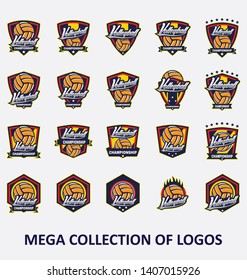Big collection of 20 volleyball logos. Modern design badges set for your business.