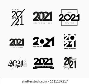 Gran colección de carteles de Feliz Año Nuevo 2021. Conjunto de símbolos de Año Nuevo Feliz 2021. Dibujo de tarjetas de felicitación, plantilla de folleto. Ilustración vectorial con etiquetas de vacaciones negras aisladas en fondo blanco.