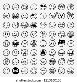 Big Collection of 64 hand drawn vector funny emoticons
