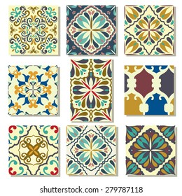 Big Collection of 9 ceramic tiles - patterns, blue-orange style