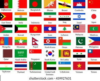 big collection of asian flags - vector