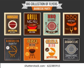 Big collection of Barbecue Party flyers or templates design.