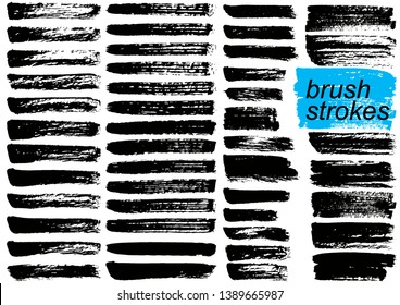 Big Collection of black paint, ink brush strokes, brushes, lines. Dirty artistic design elements. Vector illustration. Isolated on white background.