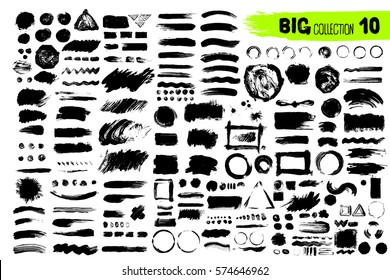 Big collection of black paint, ink brush strokes, brushes, lines. Dirty artistic design elements. Vector illustration. Isolated on white background. Freehand drawing.