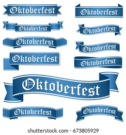big collection of blue colored banners isolated on white background for german Oktoberfest