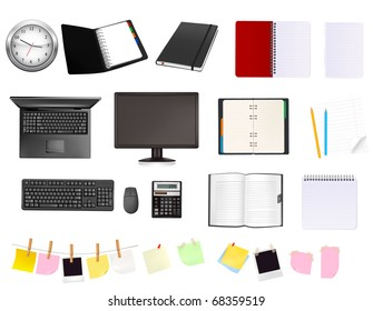 Big collection of business and office supplies. Vector.