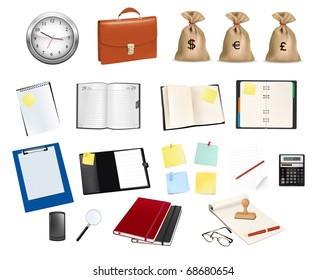 Big collection of business and office supplies. Vector illustration.