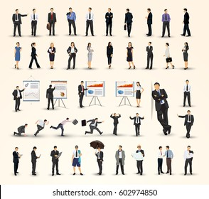 Big collection of business people illustrations in different poses, business man and business woman variations, and presentations
