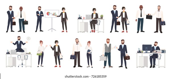 Big collection of business people or office workers dressed in smart clothing in different situations - making deal, conducting negotiation, working. Colorful cartoon characters. Vector illustration.