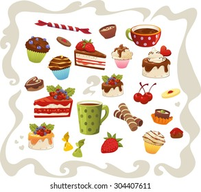 Big collection of cakes and other sweet food, isolated on white background