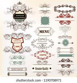 Big collection of calligraphic elements for design